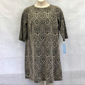 London Times black and tan print shift dress